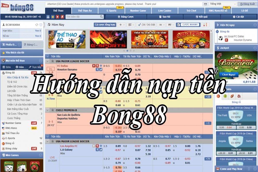 Nạp tiền và rút tiền tại Bong88