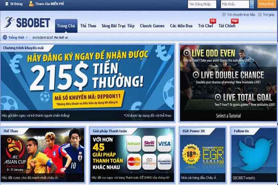 Trang mạng cá cược thể thao uy tín SBOBET