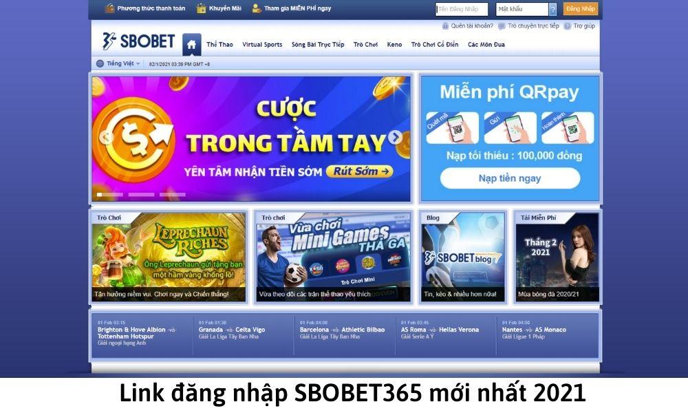Link đăng nhập SBOBET365 mới nhất 2021