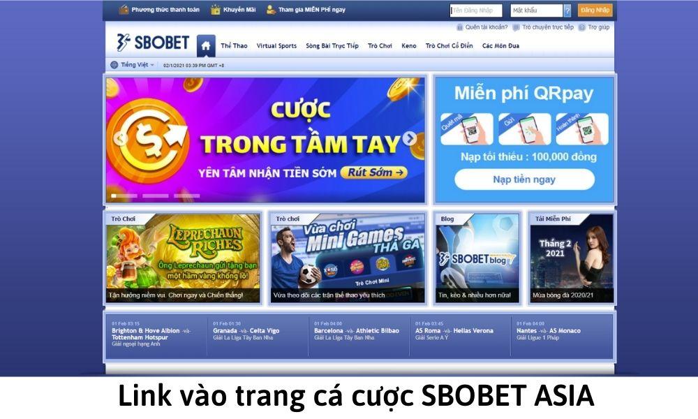 Link vào trang cá cược SBOBET ASIA